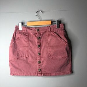 Garage button up skirt size small burgundy mini